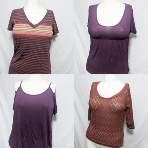 4 pack of tees casual purple and brown large